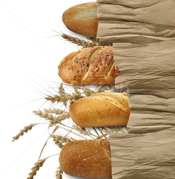 Chleba biały spożywczy białe tło kolekcja Zdjęcia stock © saddako2