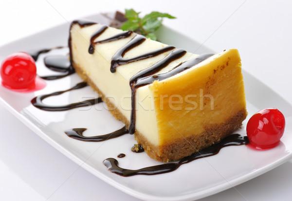 ストックフォト: チーズケーキ · チョコレート · ソース · ケーキ · プレート · デザート