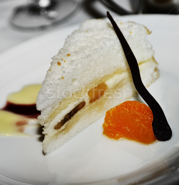 Pastel de frutas rebanada blanco alimentos torta dulce Foto stock © saddako2