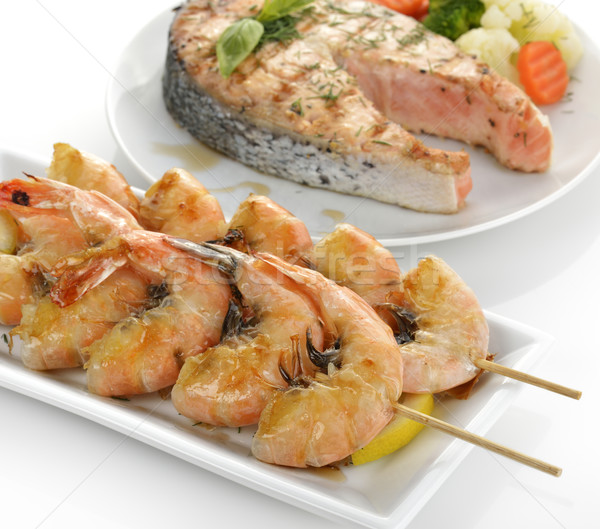 Szelet lazac zöldségek étel tányér egészséges Stock fotó © saddako2