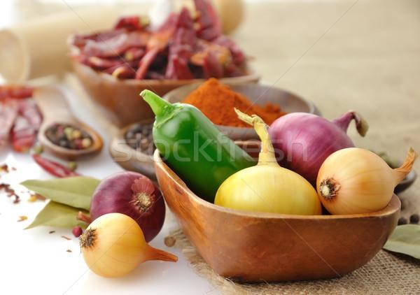 Stockfoto: Specerijen · houten · voedsel