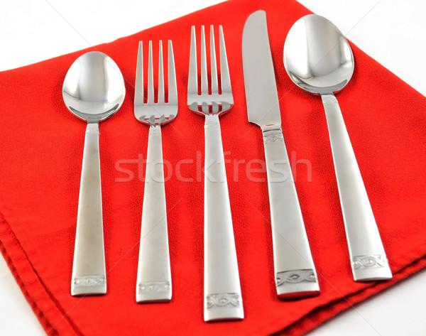 Ezüst étkészlet szett piros szalvéta acél fehér Stock fotó © saddako2