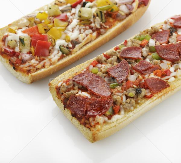 Francia kenyér pizza grillezett zöldségek pepperoni étel Stock fotó © saddako2