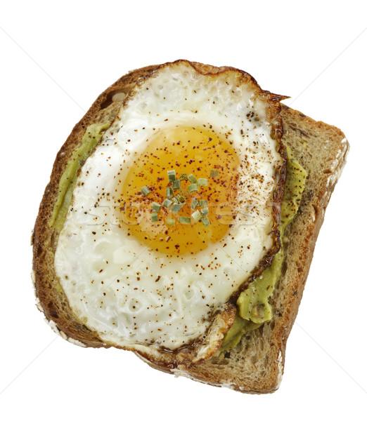 Avokádó szendvics tükörtojás egészséges reggeli pirítós Stock fotó © saddako2
