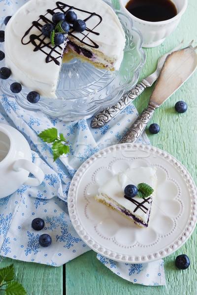 Stok fotoğraf: Kek · beyaz · taze · yaban · mersini · ahşap · masa