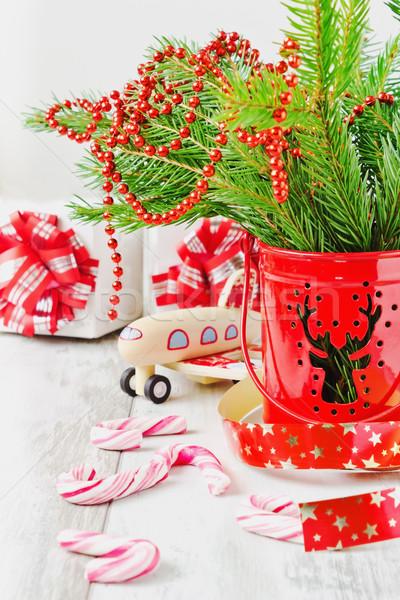 Christmas decoraties geschenken oude houten selectieve aandacht Stockfoto © saharosa