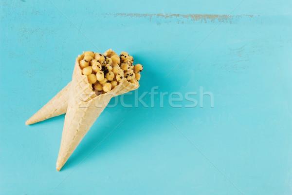 トウモロコシ ワッフル 青 コピースペース ストックフォト © saharosa