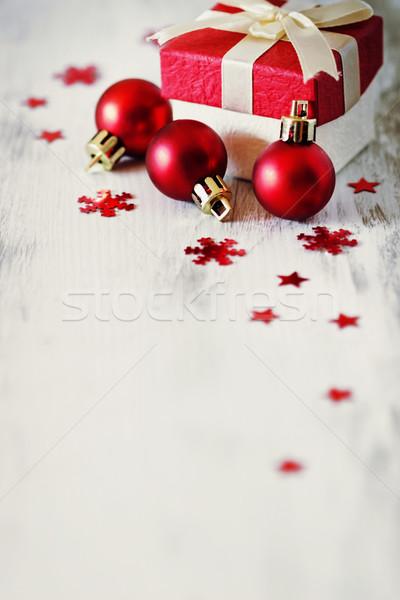 Natale regali finestra decorazioni bianco legno Foto d'archivio © saharosa