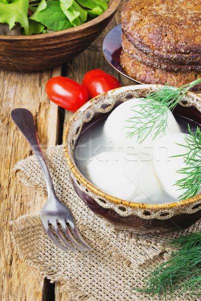 Сток-фото: свежие · моцарелла · сыра · шпинат · помидоров · старые