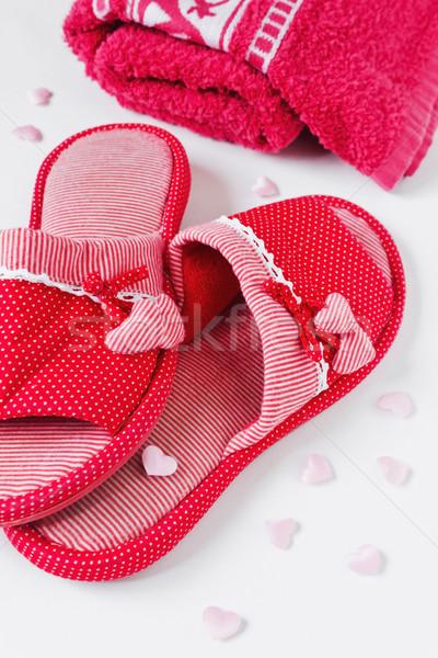 ванны женщины красный сердцах Сток-фото © saharosa