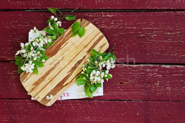 Tabla de cortar flores edad superior Foto stock © saharosa