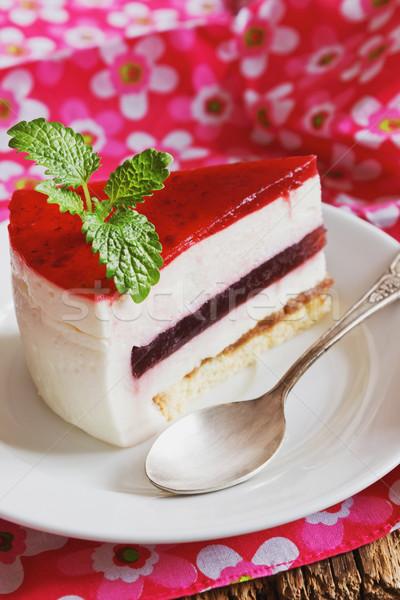 Darab torta krém tányér ünnepi fesztiválok Stock fotó © saharosa