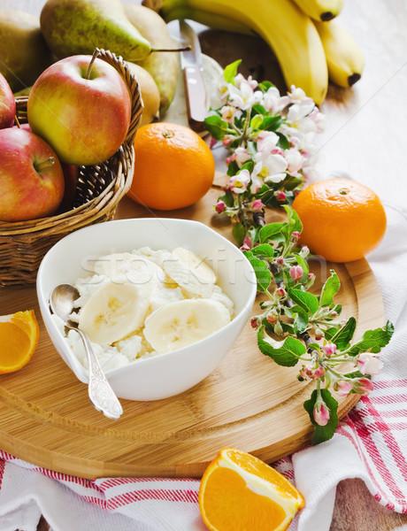 Gezonde ochtend ontbijt cottage cheese bananen gezondheid Stockfoto © saharosa
