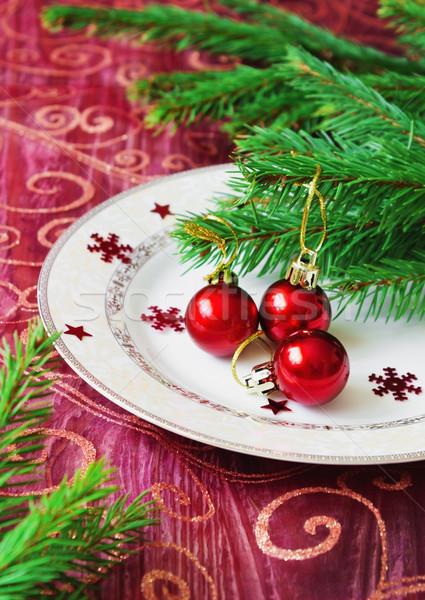 Karácsony golyók kicsi piros tányér ünnep Stock fotó © saharosa