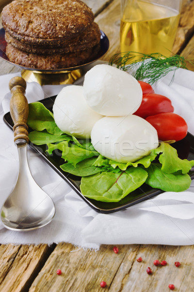 fresh mozzarella Stock photo © saharosa