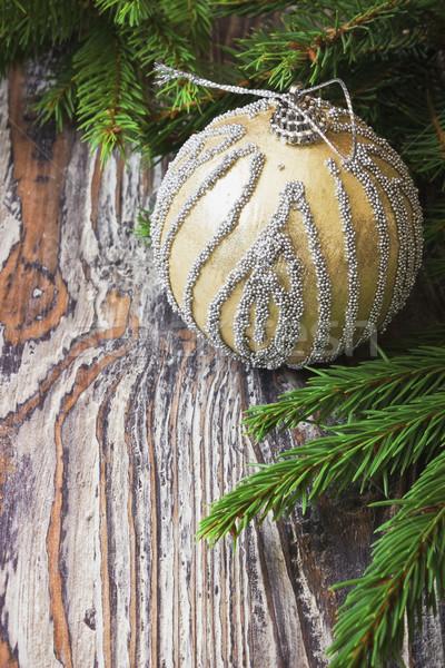 Karácsony labda fényes fából készült új év díszítések Stock fotó © saharosa