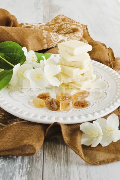 белый шоколадом частей коричневого сахара цветы красивой Сток-фото © saharosa
