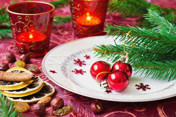 Piccolo rosso Natale piatto vacanze Foto d'archivio © saharosa