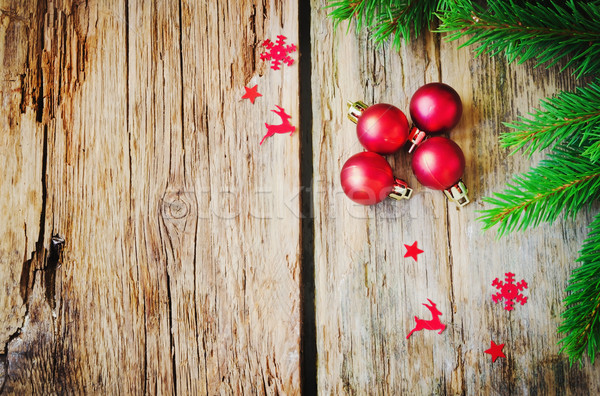 Karácsony golyók kicsi piros öreg fából készült Stock fotó © saharosa