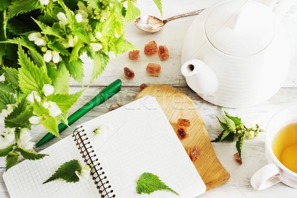 Tea bogrács notebook cukor friss ágak Stock fotó © saharosa