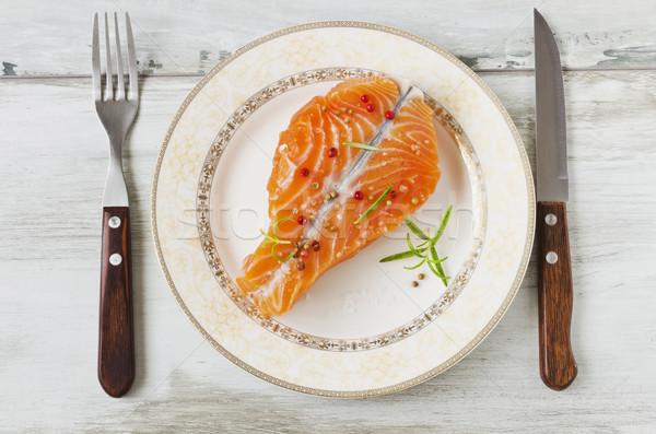 łososia filet tablicy skupić zdrowia diety Zdjęcia stock © saharosa