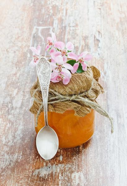 Zoete droom glas jar oranje jam Stockfoto © saharosa