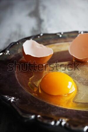 Yumurta yumurta sarısı kabuk büyük eski Metal Stok fotoğraf © saharosa