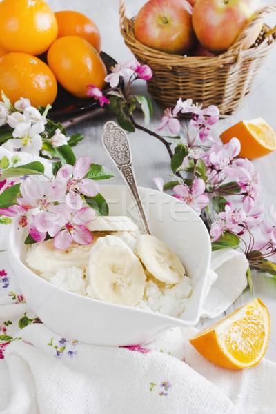 здорового завтрак творог фрукты здоровья диета Сток-фото © saharosa
