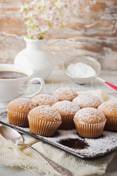 Colazione Cup caffè zucchero a velo vaso Foto d'archivio © saharosa