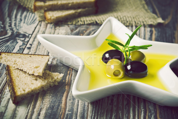 Stock photo: marinated olives in olive oil