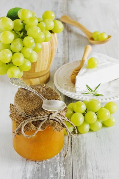 Druif jam glas jar brie rijp Stockfoto © saharosa