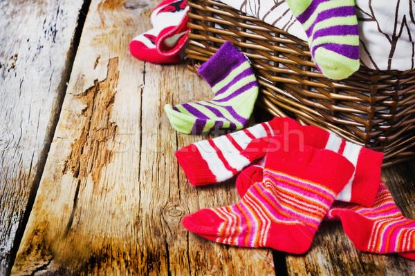 Listrado meias cesto de roupa suja textura fundo Foto stock © saharosa