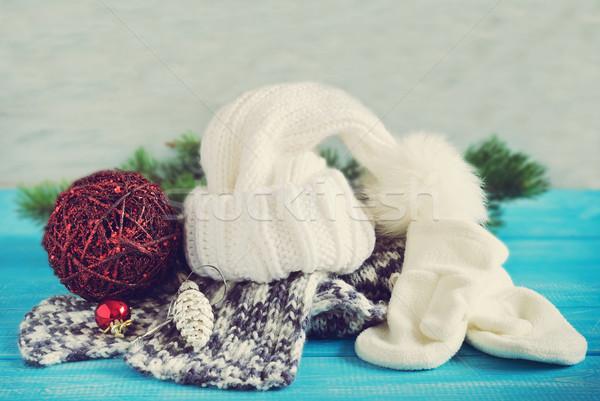 Karácsony ruházat tél sapka ujjatlan kesztyűk sál Stock fotó © saharosa