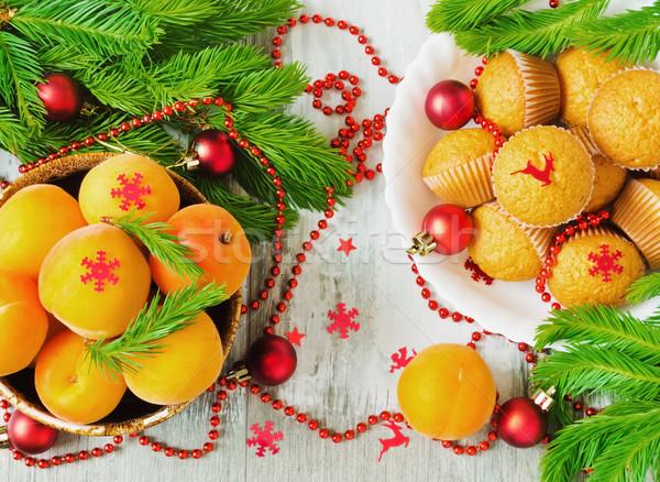 Navidad mesa frescos decoraciones árbol Foto stock © saharosa
