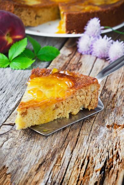 Cake peer jam stuk oude Stockfoto © saharosa