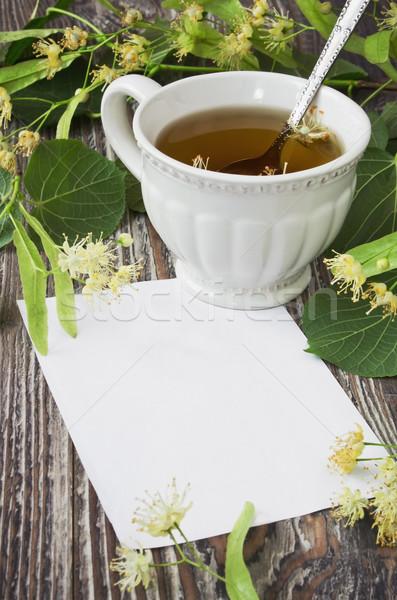 linden tea and blank paper Stock photo © saharosa