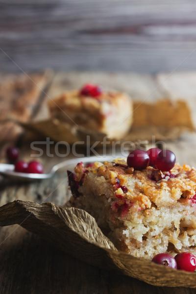 Ломтики торт клюква свежие Ягоды старые Сток-фото © saharosa