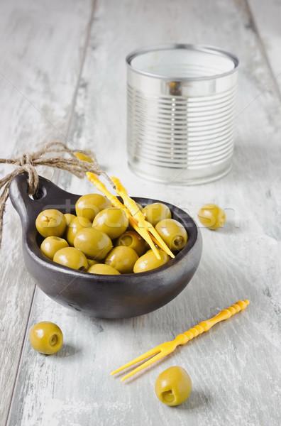 оливками чаши маринованный желтый продовольствие еды Сток-фото © saharosa