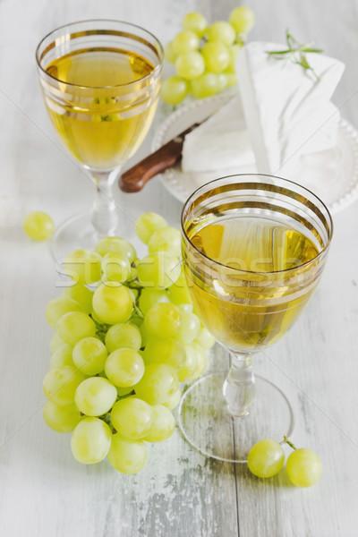 Druif wijn wijnglas brie focus traditioneel Stockfoto © saharosa