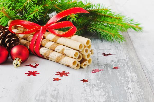 Christmas cookies decoraties licht houten exemplaar ruimte Stockfoto © saharosa