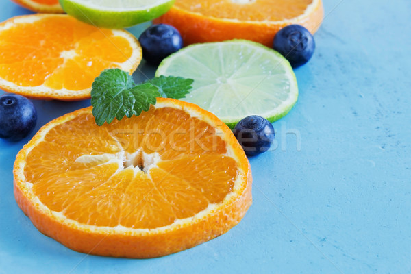 Citrus fruit Blauw houten dieet voedsel Stockfoto © saharosa