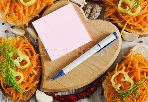 Schrijven recept notebook pen merkt Stockfoto © saharosa