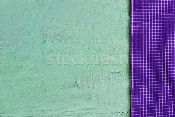 Paars doek groene houten achtergronden texturen Stockfoto © saharosa
