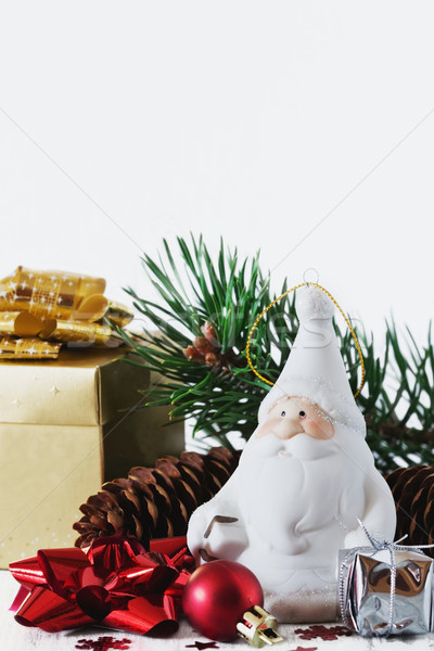 Christmas symbolen kerstman speelgoed witte houten Stockfoto © saharosa