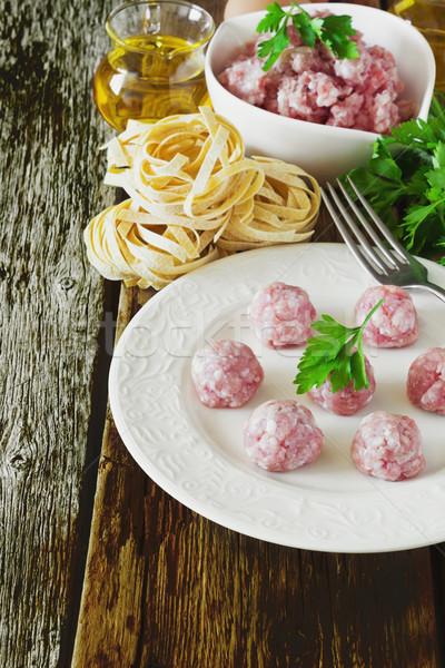 мяса пластина Ингредиенты пасты Сток-фото © saharosa