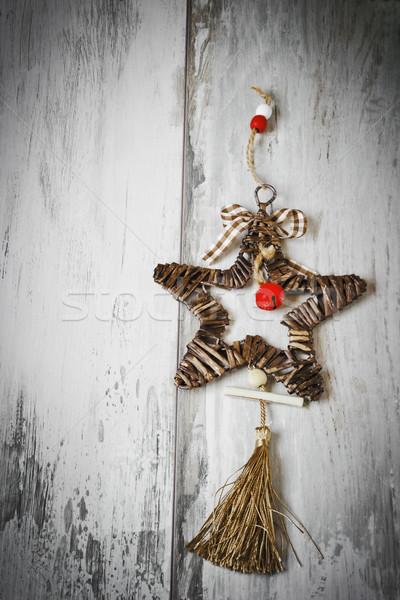 Noel star şerit çan bo uzay Stok fotoğraf © saharosa