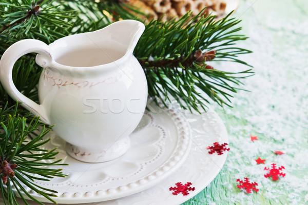 Vuota piatti Natale tavola neve piatto Foto d'archivio © saharosa