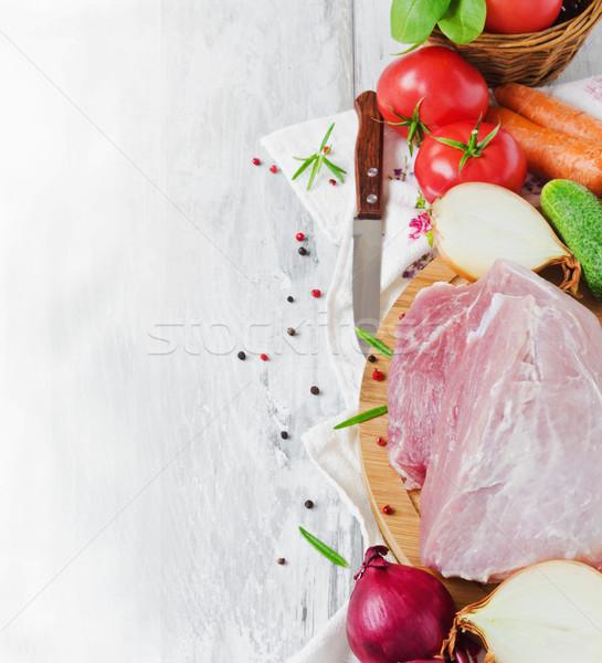 сырой мяса овощей большой кусок разделочная доска Сток-фото © saharosa