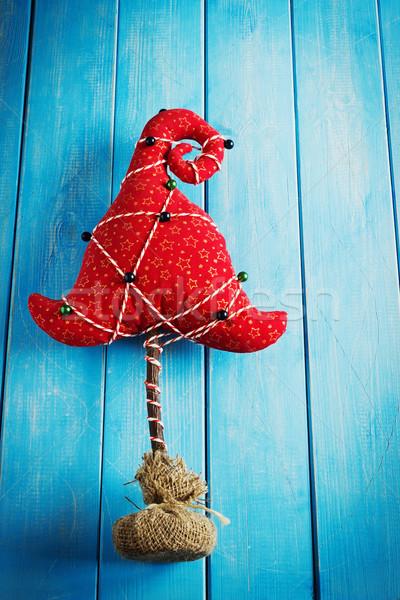 Karácsony ötlet karácsonyfa anyagok kék fából készült Stock fotó © saharosa