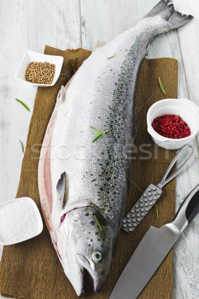 fresh salmon carcass  Stock photo © saharosa
